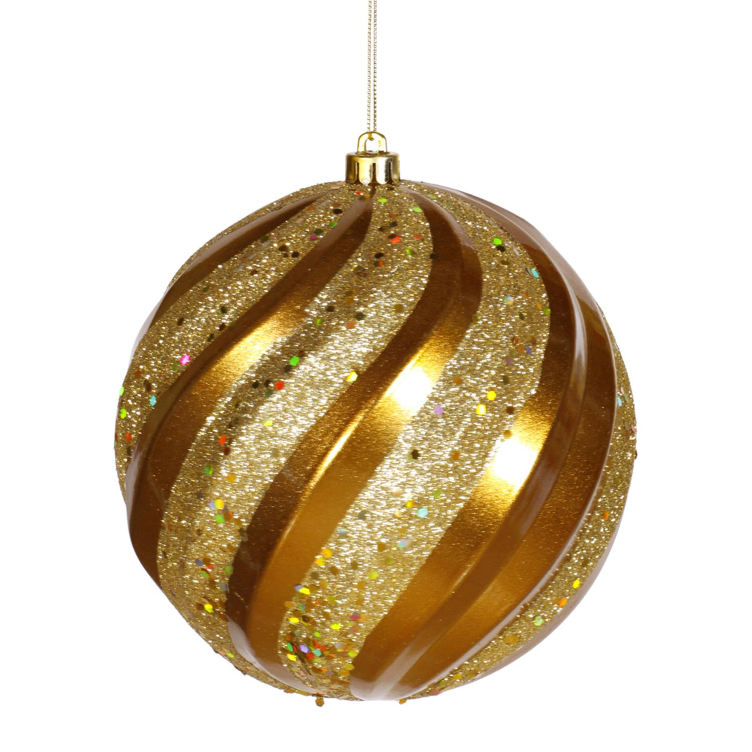 "Antique Gold Glitter Swirl Shatterproof Christmas Ball Ornament 8"" (200mm)"