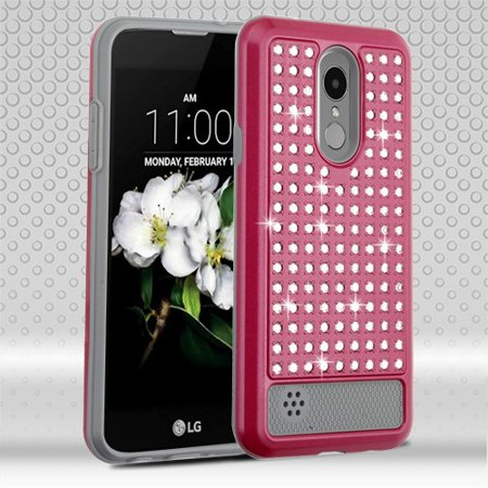 LG Phone case Hybrid Rubber Studded Rhinestone Crystal Bling Shock Absorbing Rugged TPU Hard PC Diamonds Fashion PINK Case Cover for LG Aristo 2 / Zone 4 / Fortune 2 / Risio 3 / K8 / K8 Plus (2018)