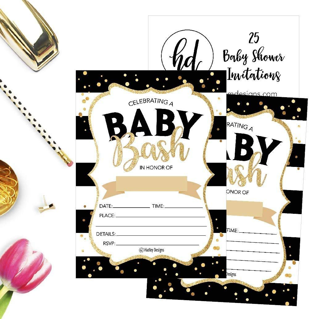 25 Black Gold Bash Baby Shower Invitations, Cute Printed Fill or ...
