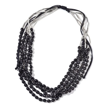 - Multi Strand Necklace for Women Black Wooden Beads on Black Cord 28