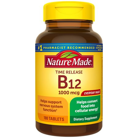 Nature Made Vitamin B12 1000 mcg Time Release Tablets, 180 Count
