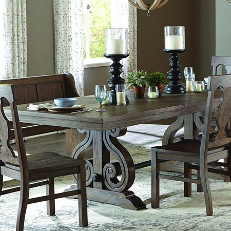 Homelegance Toulon Rectangular Trestle Dining Table in Oak