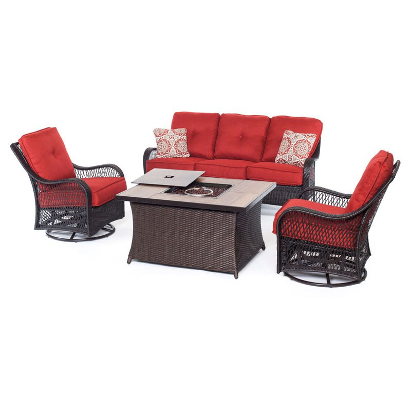 Hanover Outdoor Orleans 4-Piece Woven Firepit Lounge Set by Hanover Outdoor