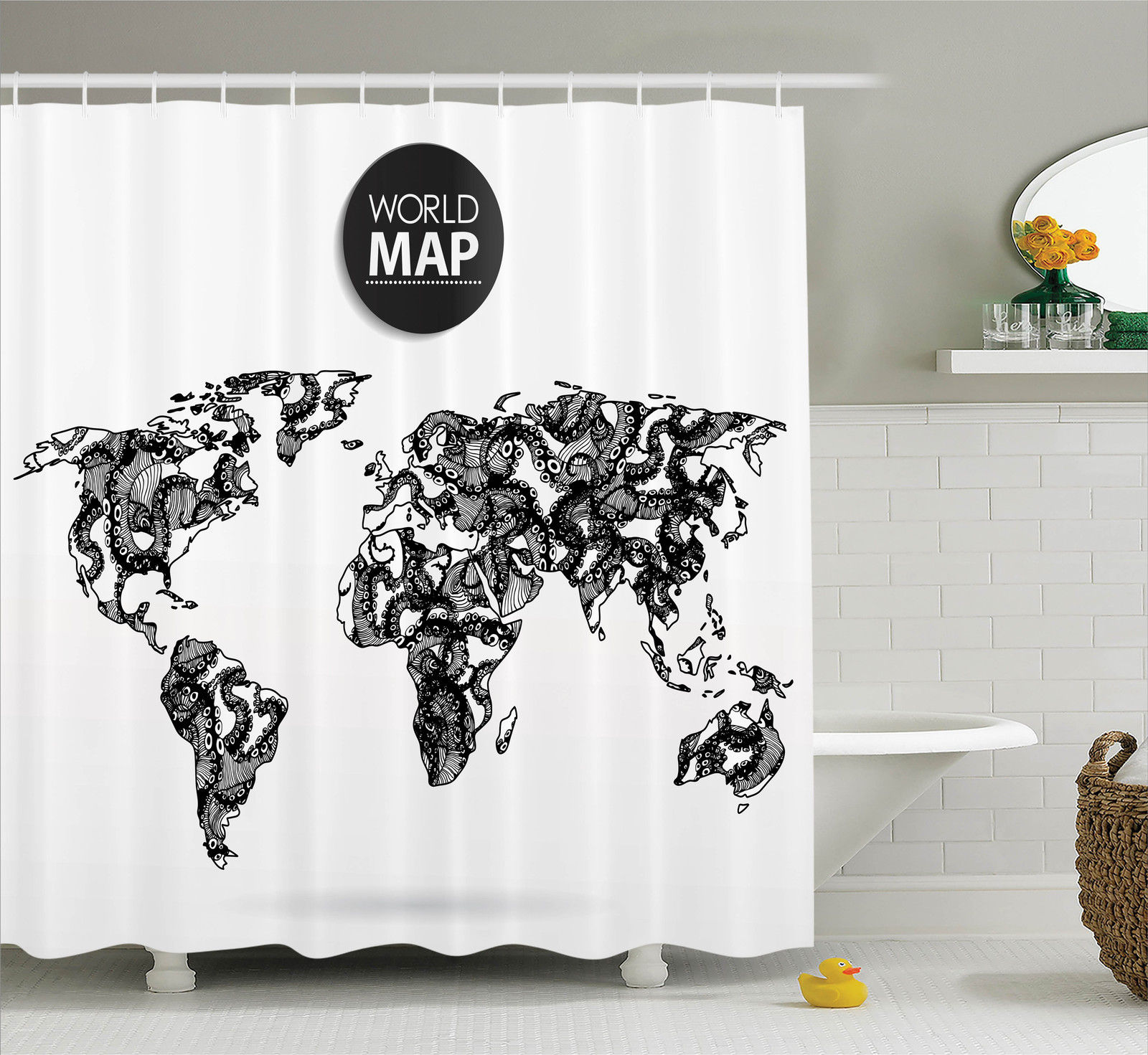 Wanderlust Decor Modern Elements Of Info Graphics Octopus World Map Communication, Bathroom Accessories, 69W X 84L Inches Extra Long, By Ambesonne