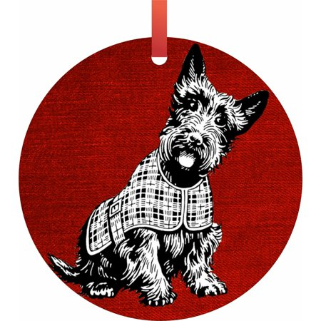 Scottish Terrier on Red Grunge Flat Round - Shaped Christmas Holiday Hanging Tree Ornament Disc Made in the U.S.A.