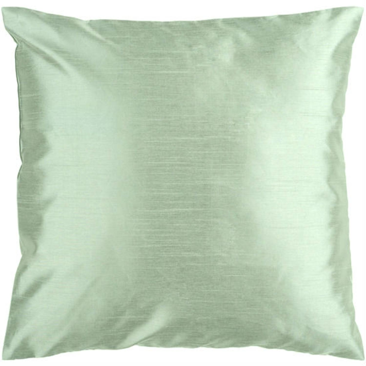 "22"" Shiny Solid Silver Seafoam Decorative Throw Pillow"