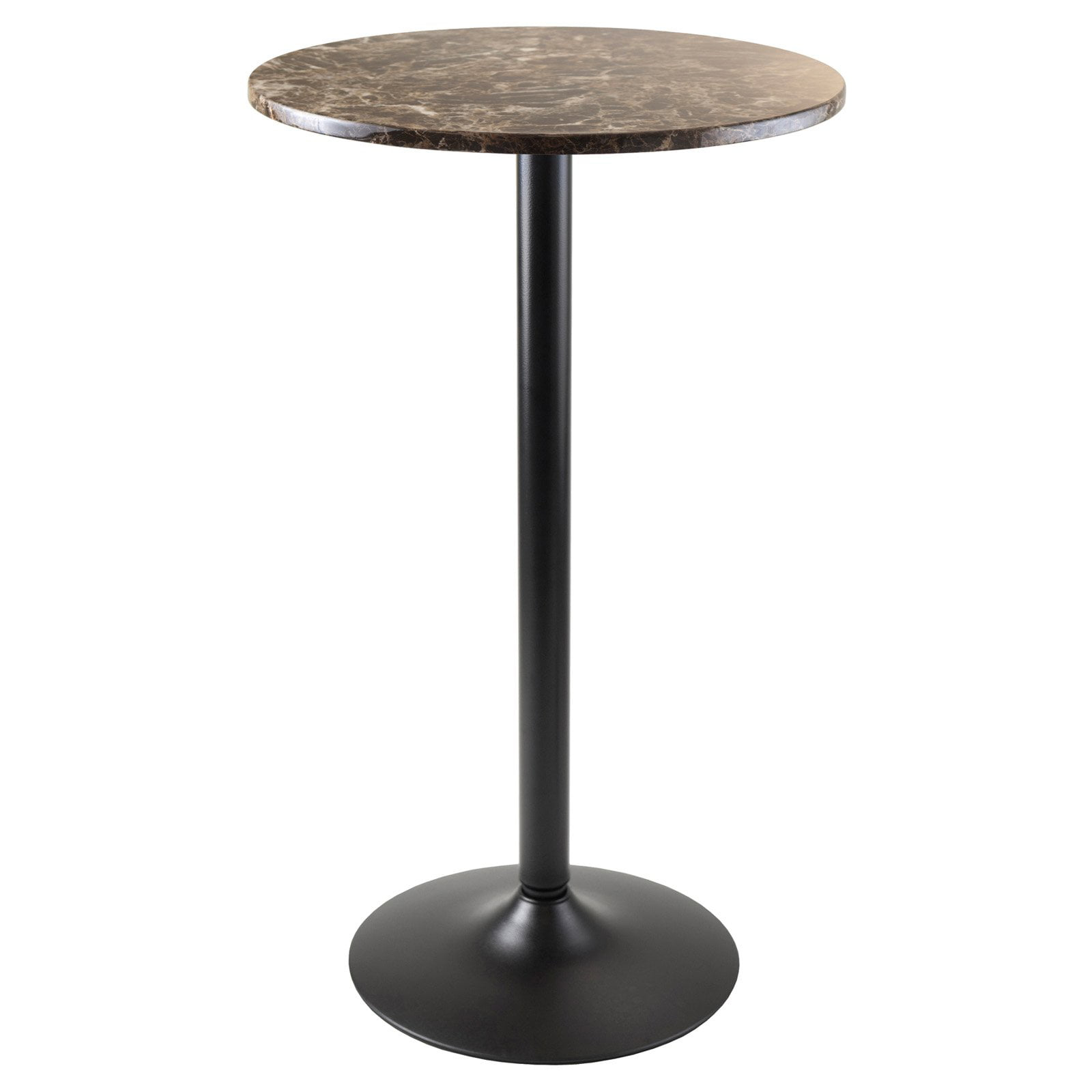 Winsome Wood Cora Round Pub Table Faux Marble W Black Base Com