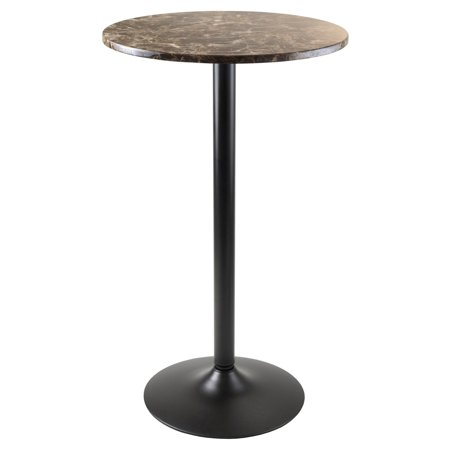 Winsome Wood Cora Round Pub Table, Faux Marble Top, Black Base