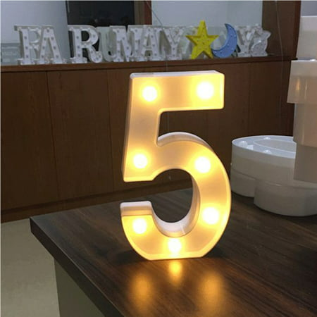 AMZER Decorative LED Illuminated Number Marquee Sign - Marquee Number with Lights For Wedding Birthday Party Christmas Night Light Lamp Home Bar Decoration 5 ()