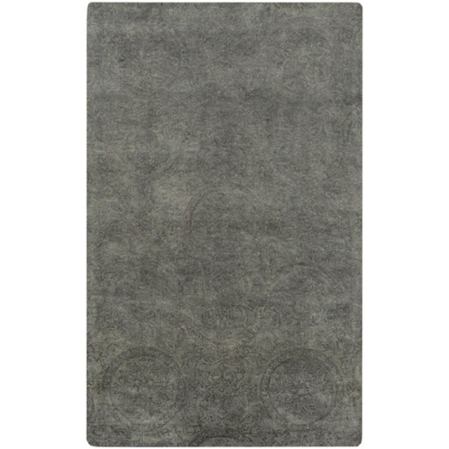 3.25' x 5.25' Turkish Marvels Charcoal Gray and Forest Green Hand Tufted Wool Area Throw Rug