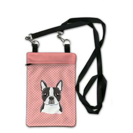 Boston Terrier Purse - Checkerboard Pink Boston Terrier Crossbody Bag Purse BB1203OBDY