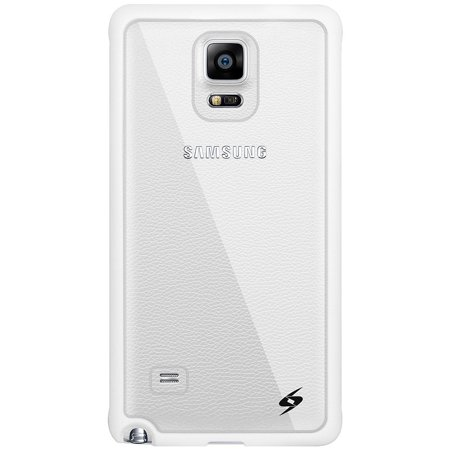 Samsung GALAXY Note 4 Shockproof Slim Clear Case White TPU Trim with Micro USB Car Wall Home Travel Charger Combo