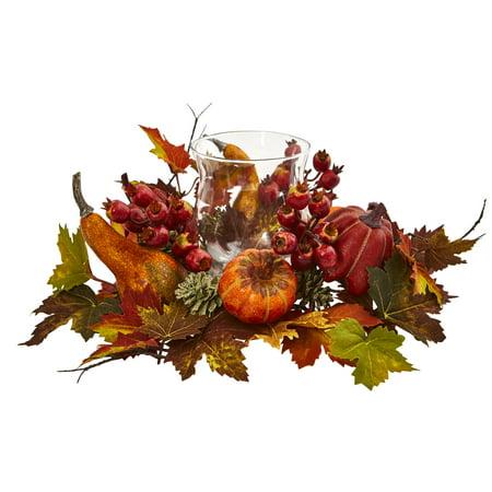 Berry Arrangement - Nearly Natural artificial indoor Pumpkin, Gourd, Berry and Maple Leaf Artificial Arrangement Candelabrum