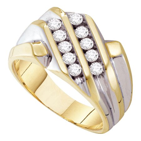 10Kt Yellow Gold Mens Round Diamond Double Row Band Ring 1 2 Cttw