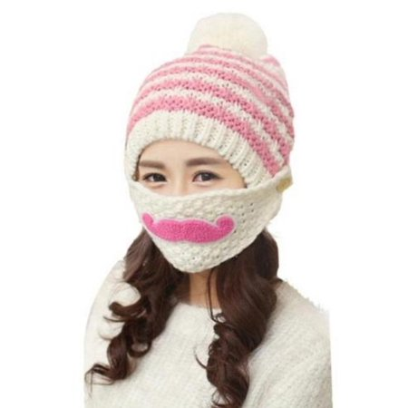 47d7d03830f Oak Leaf - Women Knitted Crochet Beanie Hat Beard Face Mask Set with Pompom