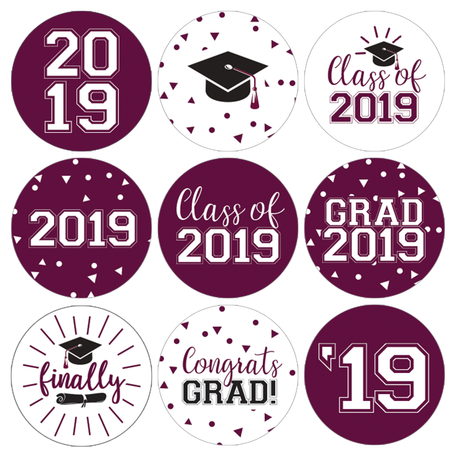 Maroon Graduation Party Stickers   216ct   Class of 2019 Favor Labels
