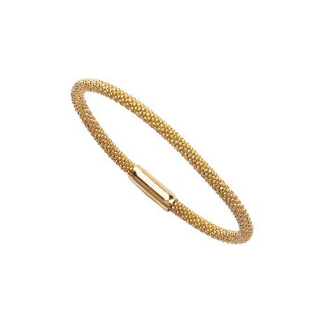 Magnetic Clasp Round Mesh-style Bangle Bracelet Yellow Gold on Sterling Silver