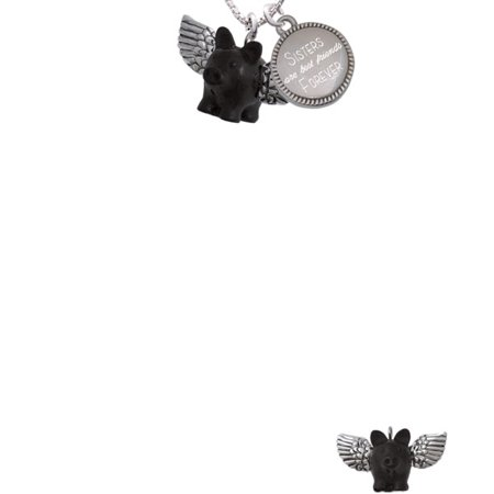 Black Flying Pig with Wings Sisters Are Best Friends Forever Engraved Necklace