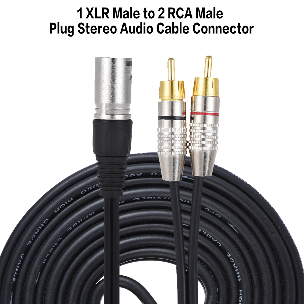 """15ft 3.5mm Male M//M Mono Audio Cable Cord 1//8/"""" TS Plug Microphone 10 Pack Lot"""
