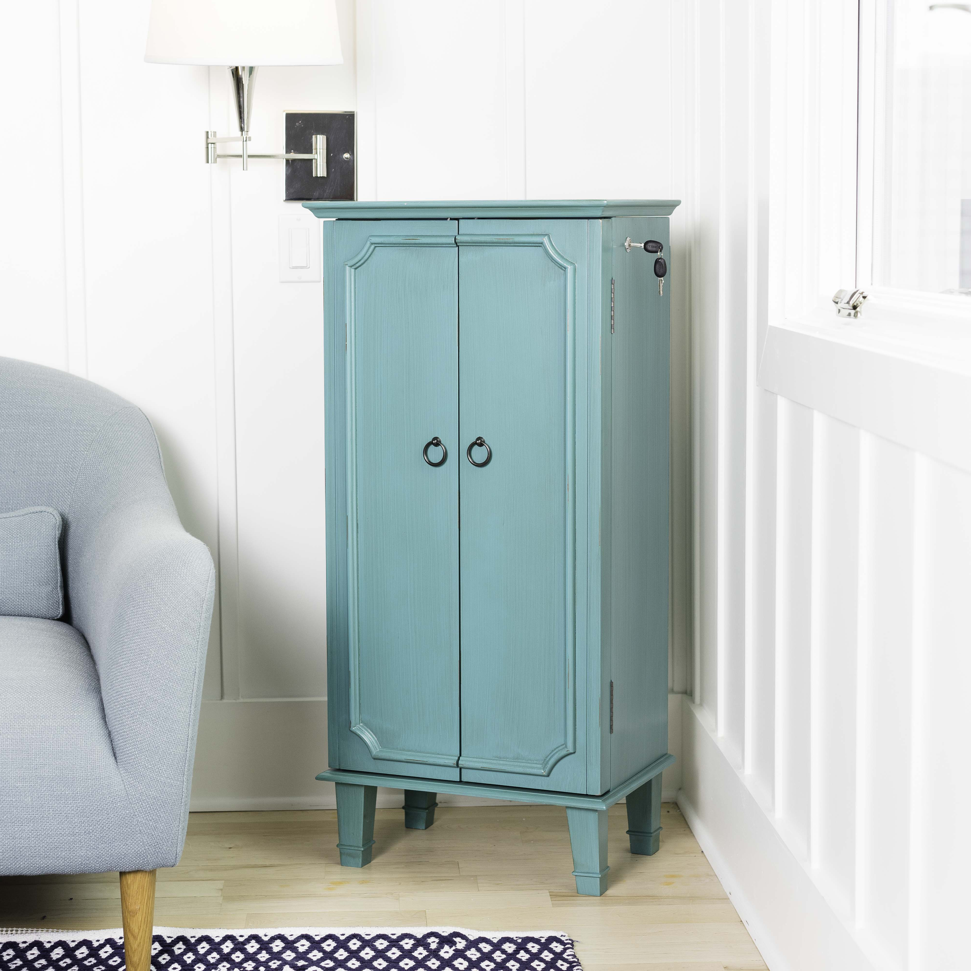 Hives & Honey Cabby Fully-Locking Jewelry Armoire - Turquoise