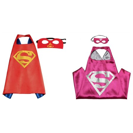 Superman & Supergirl Costumes - 2 Capes, 2 Masks with Gift Box by - Superman And Supergirl