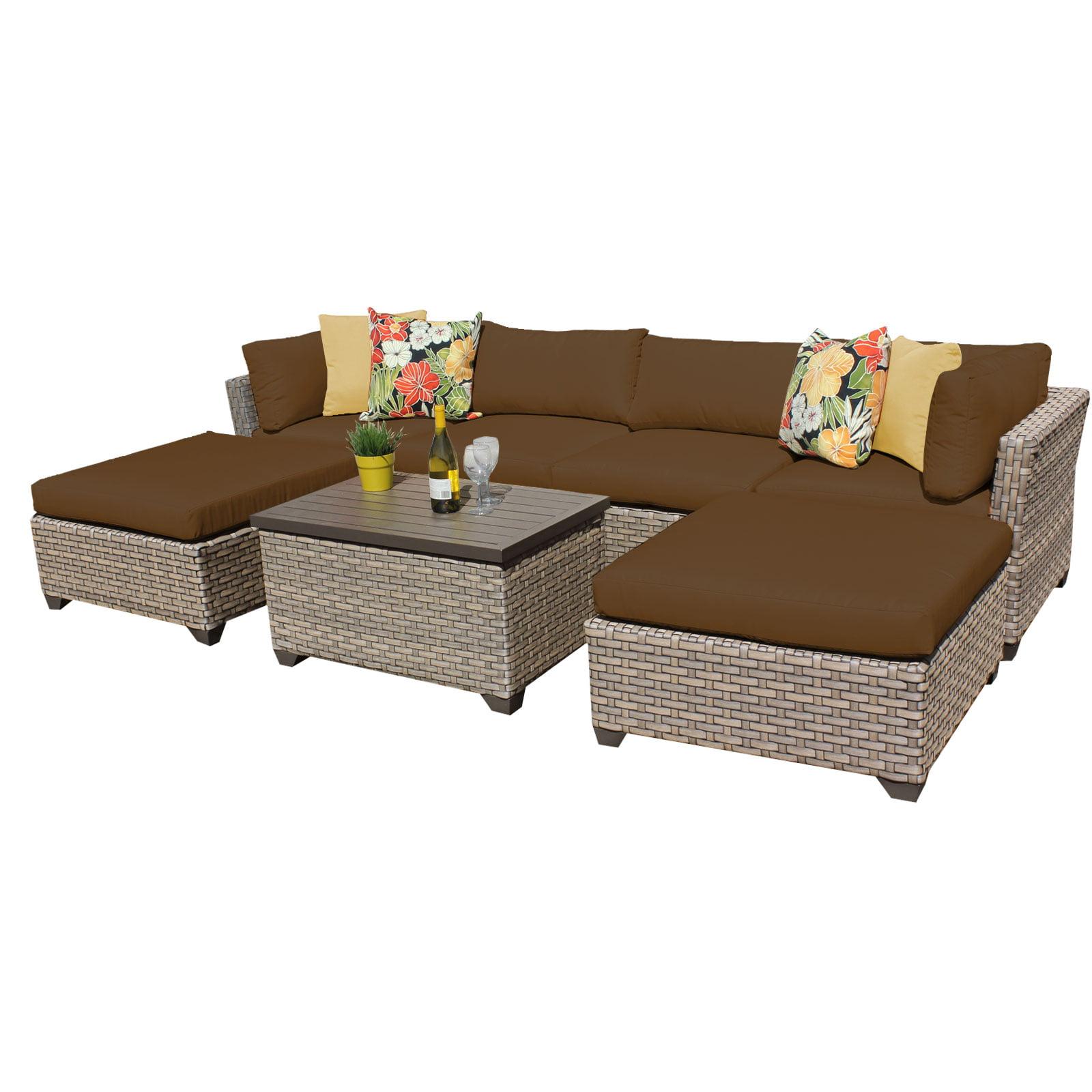 Hampton 7 Piece Outdoor Wicker Patio Furniture Set 07b - Walmart.com