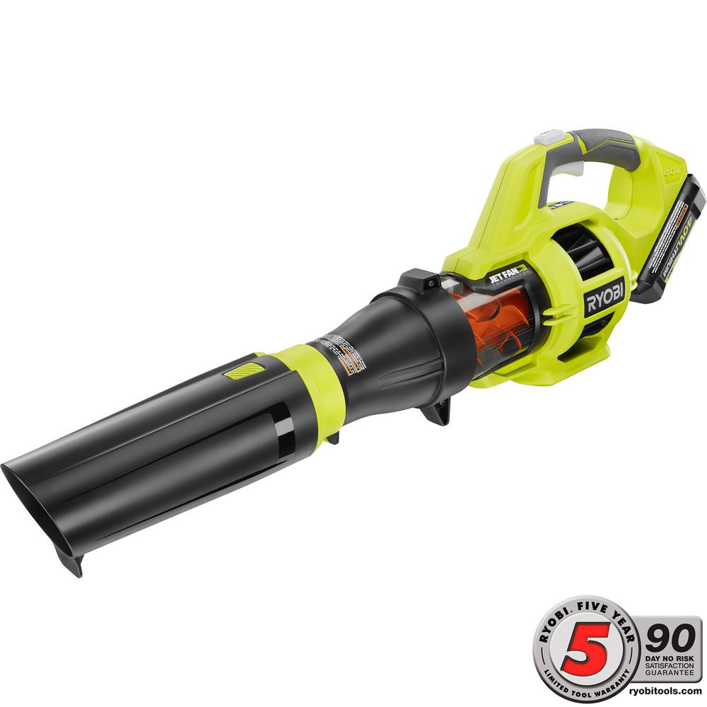 Ryobi 110 MPH 480 CFM Variable-Speed 40-Volt Lithium-Ion Cordless Jet Fan Leaf Blower - 3.0 Ah Battery and Charger Included RY40430