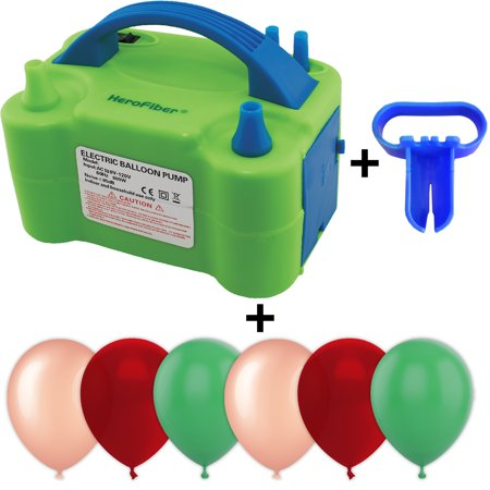 Easy Way To Tie Balloons (Electric Balloon Pump w/Tying Tool and 90 Balloons, 12 inch, 3 Colors - 30 Metallic Rose Gold, 30 Burgundy Wine, and 30 Jade Green. Lightweight Inflator has Two Nozzles to)