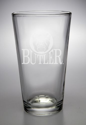 Butler Bulldogs Deep Etched Pub Pint Glass by Campus Crystal