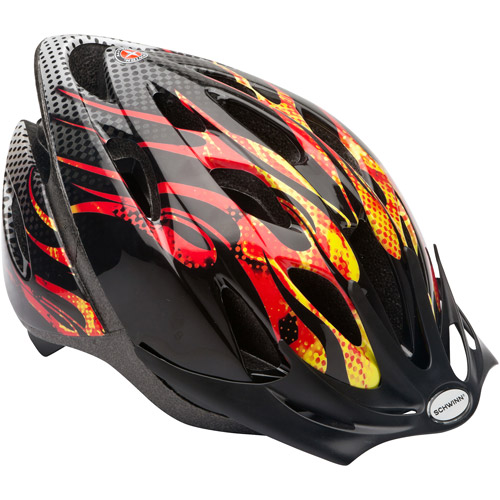 Schwinn Thrasher Boys' Bicycle Helmet, Orange Flames, Child