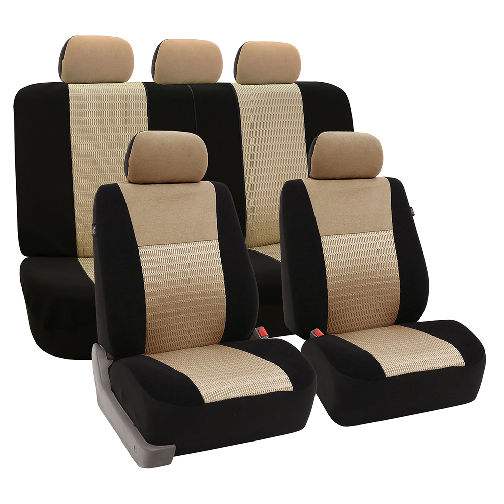 FH Group Trendy Elegance Airbag Compatible and Split Bench Seat Covers, Full Set, Beige and Black