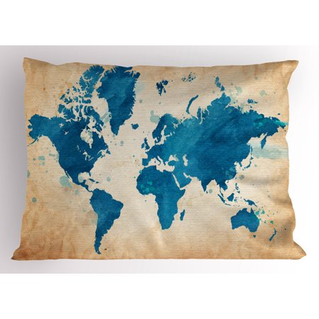 Map Pillow Sham Artistic Vintage World Map with Watercolor Brushstrokes on Old Backdrop Print, Decorative Standard Queen Size Printed Pillowcase, 30 X 20 Inches, Navy Blue Sand Brown, by Ambesonne
