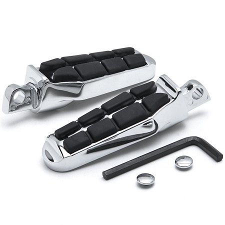 Krator Tombstone Front & Rear Foot Pegs for Harley Davidson (All Years) Foot Rests Chrome Tombstone Motorcycle Foot Peg Footrests Chrome L&R (Footrest For Atv)