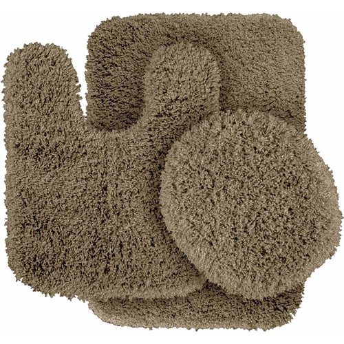 Serendipity Shaggy Nylon 3-Piece Washable Bathroom Rug Set