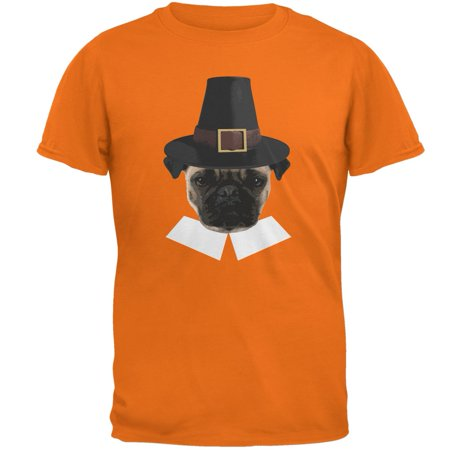 Thanksgiving Funny Pug Pilgrim Mandarin Adult T-Shirt - Thanksgiving Crafts For Adults