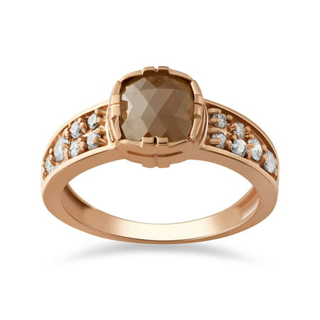 1 1/4ct Raw Diamond Rough Cut Rose Gold Engagement Ring 14k Cushion