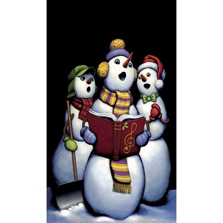 singing snowmen christmas carolers 345x60 holiday window cling decoration poster
