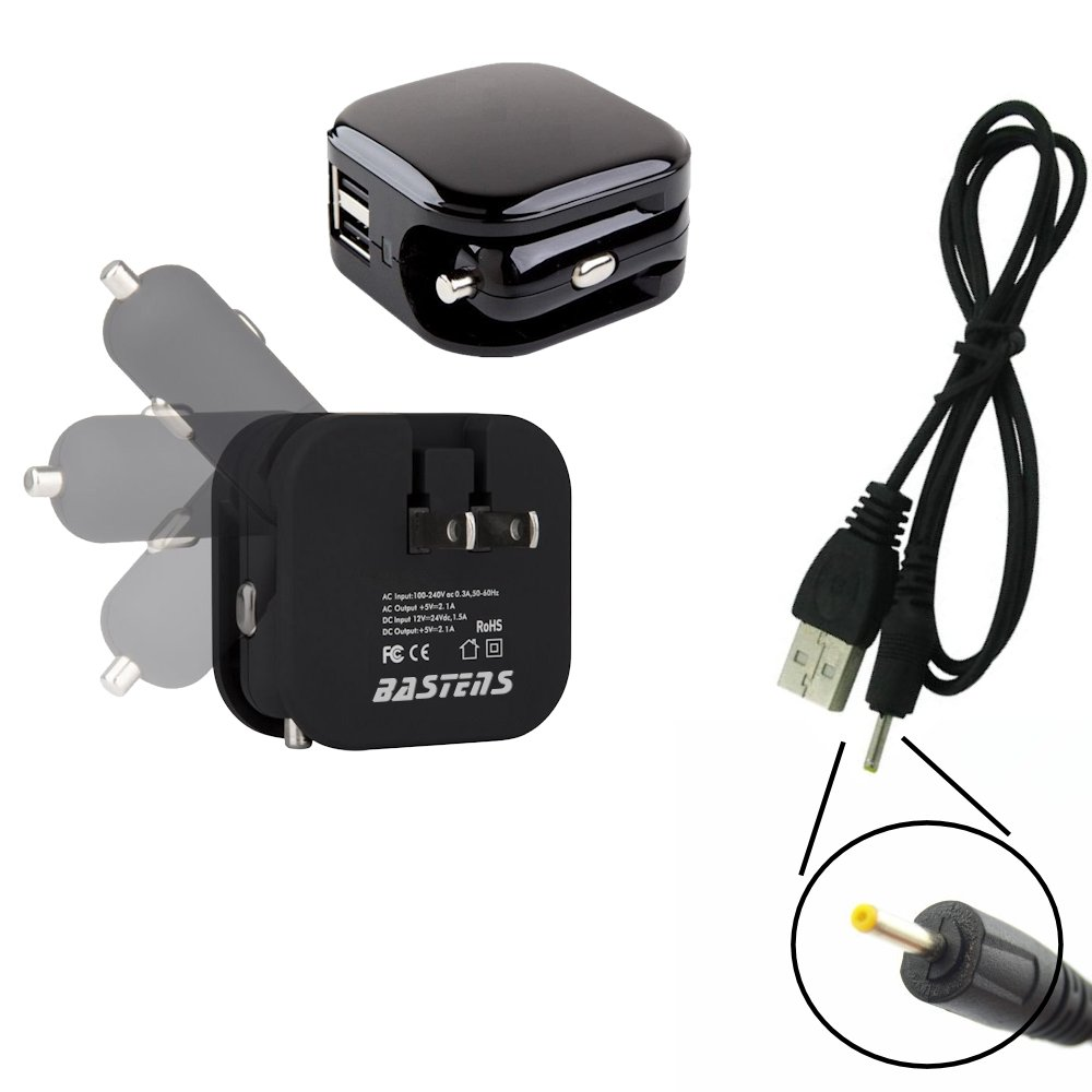 3in1 dual mini wall outlet & car charger double USB power ports & sized pocket for travel 2.1 Amp 11W with USB charge... by BASTENS