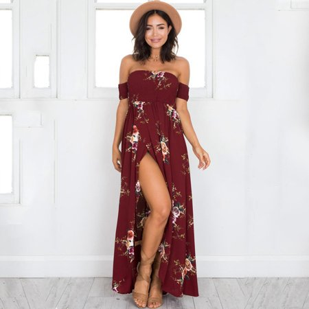 Maxi Dress, Coxeer Beach Boho Dress Off Shoulder Dress Sexy Short Sleeve Dress Floral Long Party Dress for Women