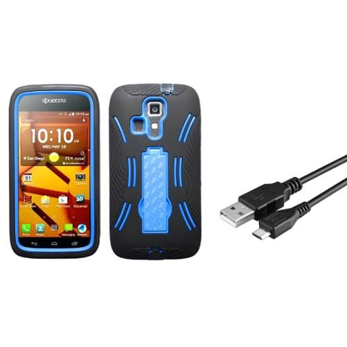Insten Dark Blue/Black V2 Hybrid Stand Heavy Duty Hard Case For Kyocera Hydro Icon 6730 (with USB cable)