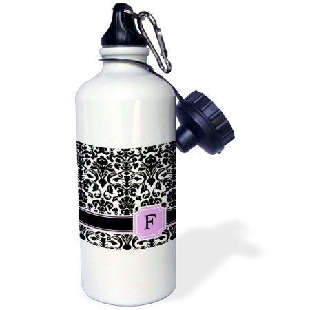 3dRose Personal initial F monogrammed pink black and white damask pattern girly stylish personalized letter, Sports Water Bottle, 21oz