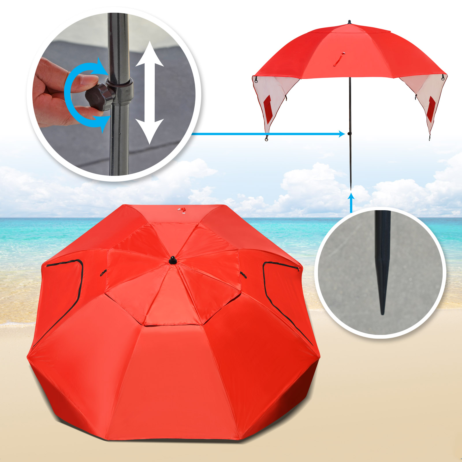 Strong Camel Portable Sun and Weather umbrella Shelter Sport or Beach Canopy Tent 8 Foot Canopy-Red color by Sunny Outdoor Inc