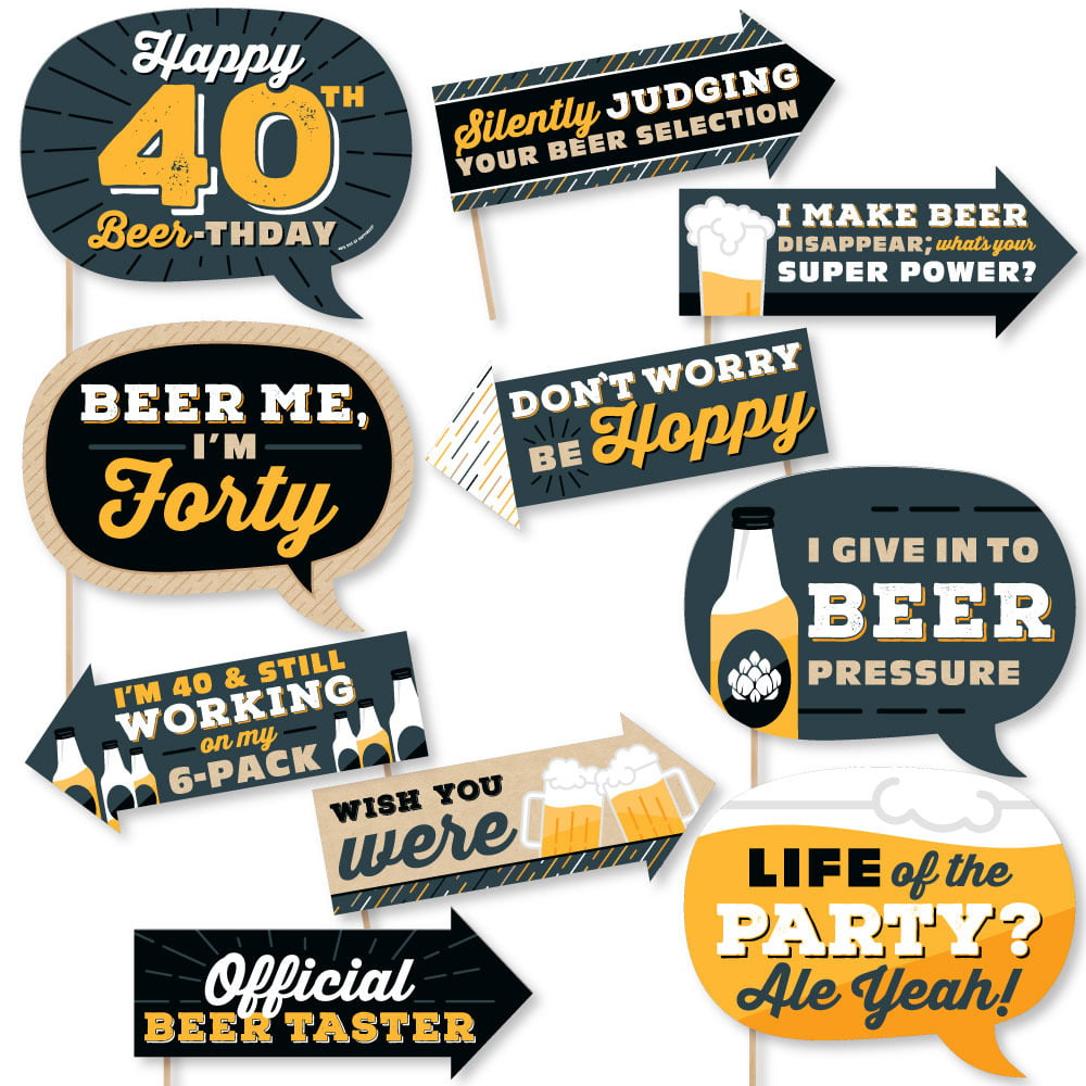 Funny Cheers And Beers To 40 Years 40th Birthday Party Photo Booth Props Kit 10 Piece Walmart Com Walmart Com