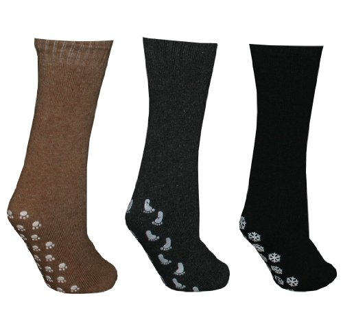 Pack of 3 Pairs Slipper Socks (Black/CharcoalGrey/Tan)