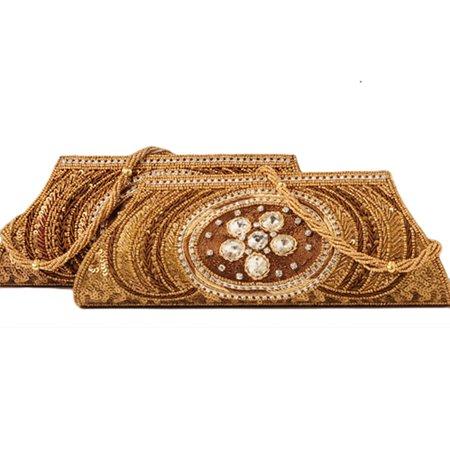 Golden Silk Embroidered Handbag