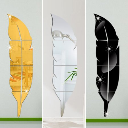 Removable Feather (Modern Fashion Wall Mirror Stickers 3D Feather Shape Mirror Art Mural Decal Home Decor Removable Stylish Dining Room Bedroom Decor)