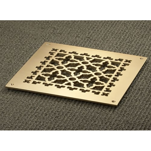 """Reggio Registers 1010-BNH Scroll Series 8"""" x 8"""" Floor Grille without Mounting Holes"""