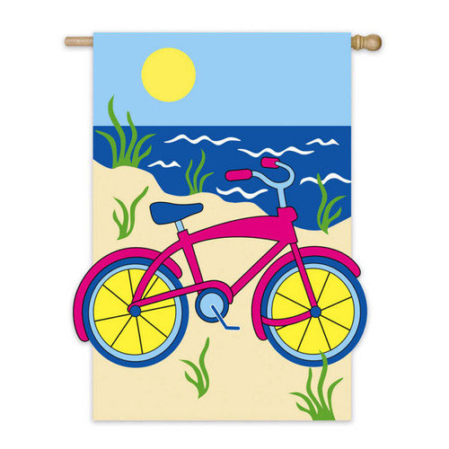 House Size Applique Flag, Summer Bicycle, 28x44 Inches
