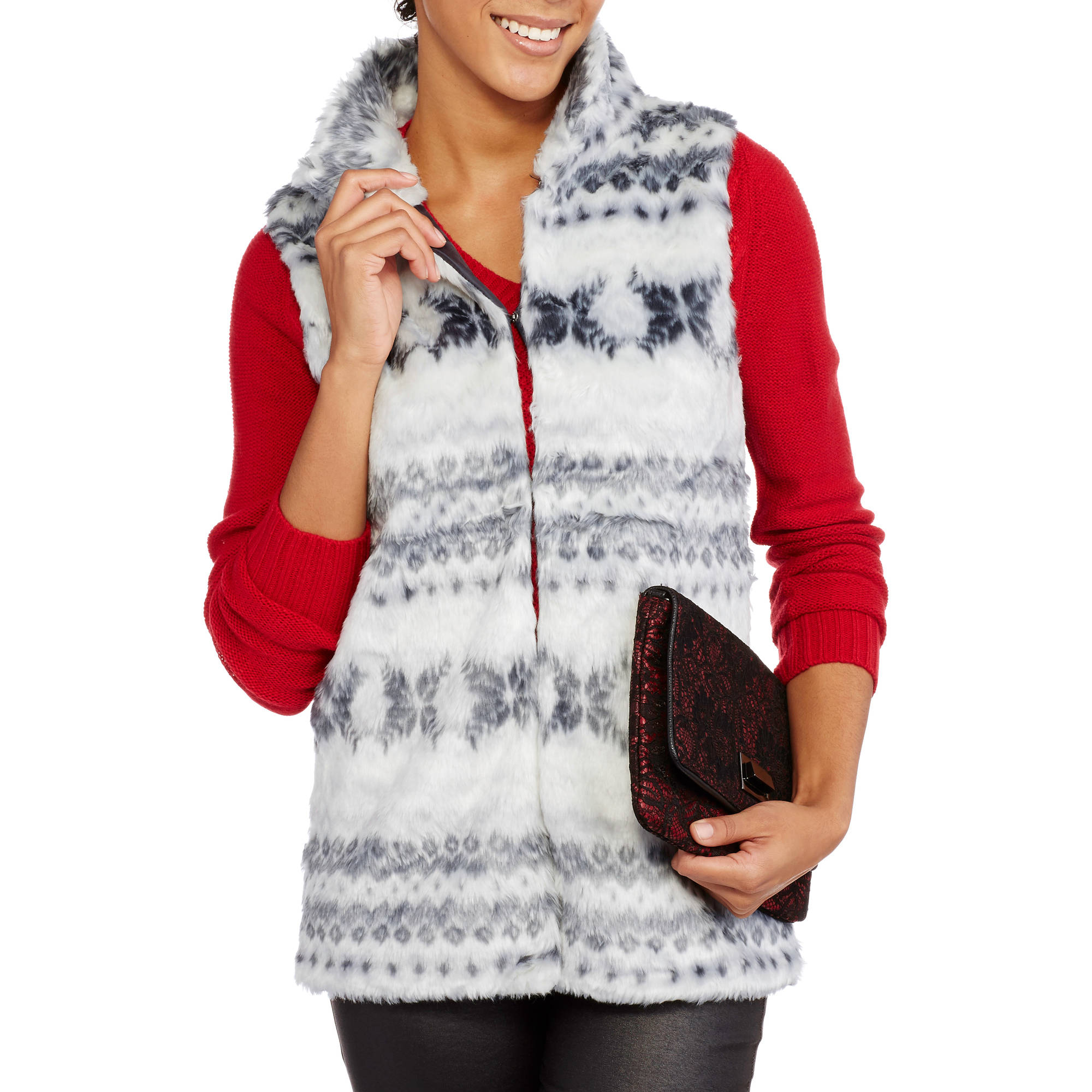 Derek Heart Juniors' Sleeveless Faux Fur Vest
