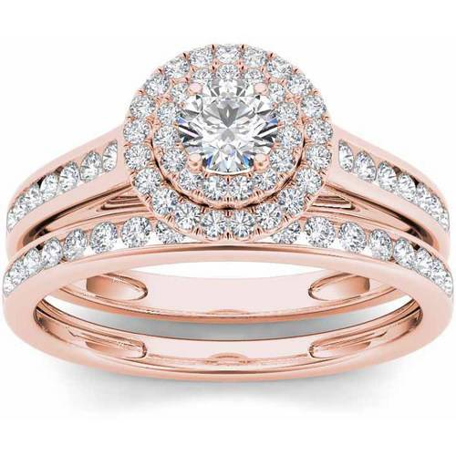 Imperial 3 4 Carat T.W. Diamond Double Halo 10kt Rose Gold Engagement Ring Set by Imperial Jewels